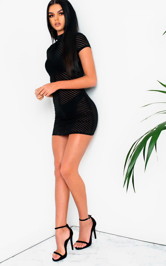 1e240d28844b Val Mesh High Neck Bodycon Dress in Black