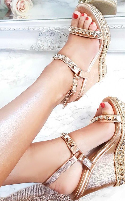 23e00bfaa505 Valentine Studded Strap Wedges in Rose gold