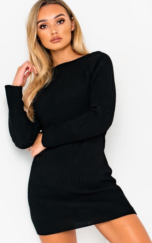 Vera Ribbed Knitted Jumper Dress In Black Ikrush