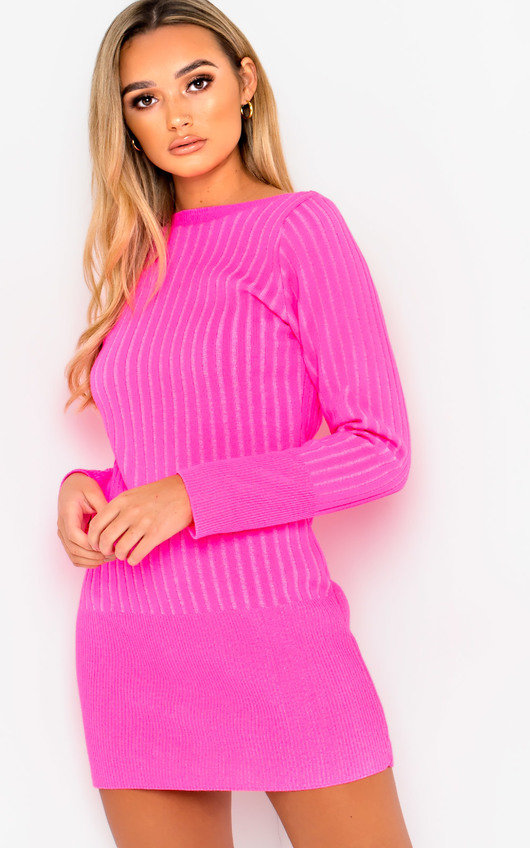 f8349ccf102 Vera Ribbed Knitted Jumper Dress in Neon pink