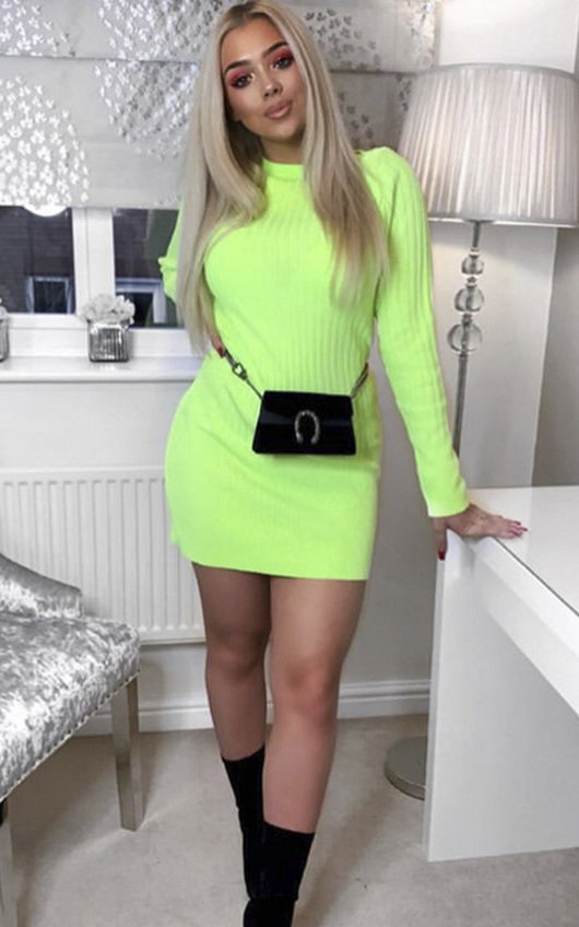 9b3bb29204 Vera Ribbed Knitted Jumper Dress in Neon green