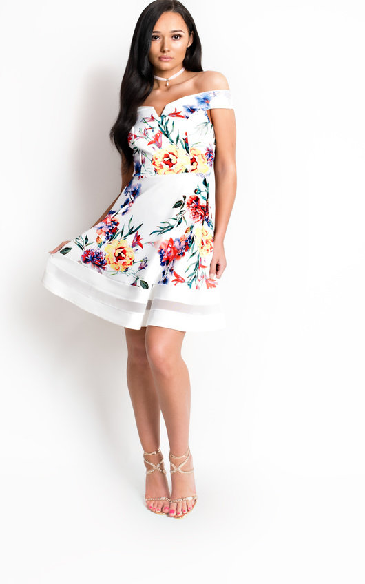 d8799be4ce9 Victoria Off Shoulder Floral Skater Dress in White
