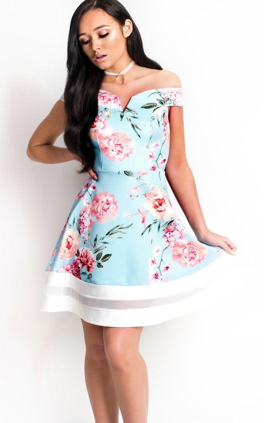 a37d32542aa Victoria Off Shoulder Floral Skater Dress in Blue