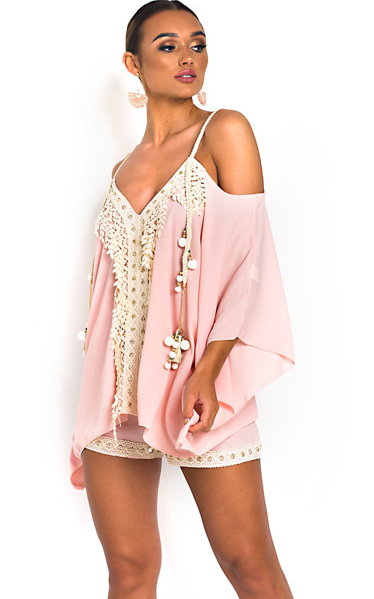 535bc4420819 Vivi Crochet Embellished Top & Shorts Co-Ord in Pink   ikrush