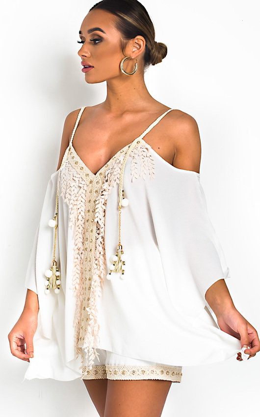 de430a1ddde7 Vivi Crochet Embellished Top & Shorts Co-Ord in White   ikrush