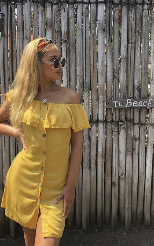 18aa400d1129a Vivi Off Shoulder Button Up Dress. HOVER ITEM TO ZOOM