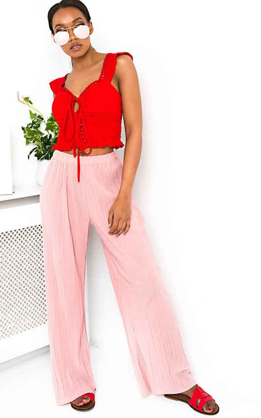 e6cad644803280 Willow Wide Leg Pleated Trousers in Pink | ikrush