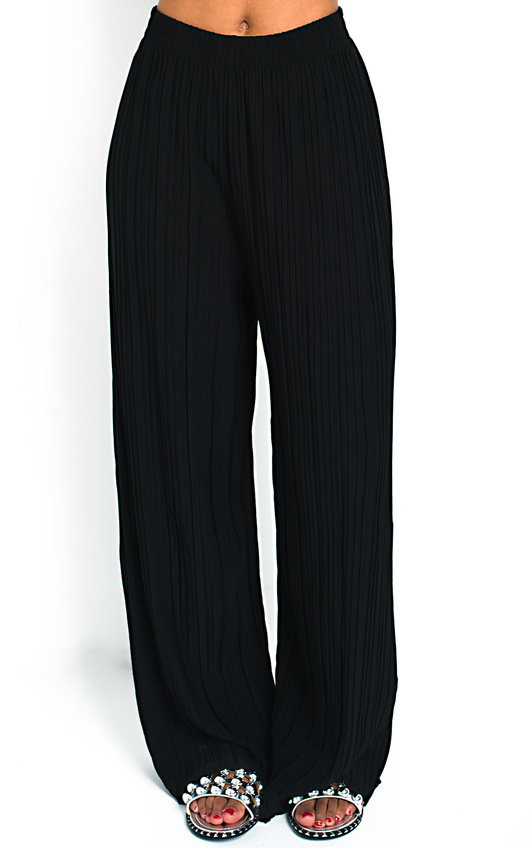 3fed7f1242cf00 Willow Wide Leg Pleated Trousers in Black | ikrush
