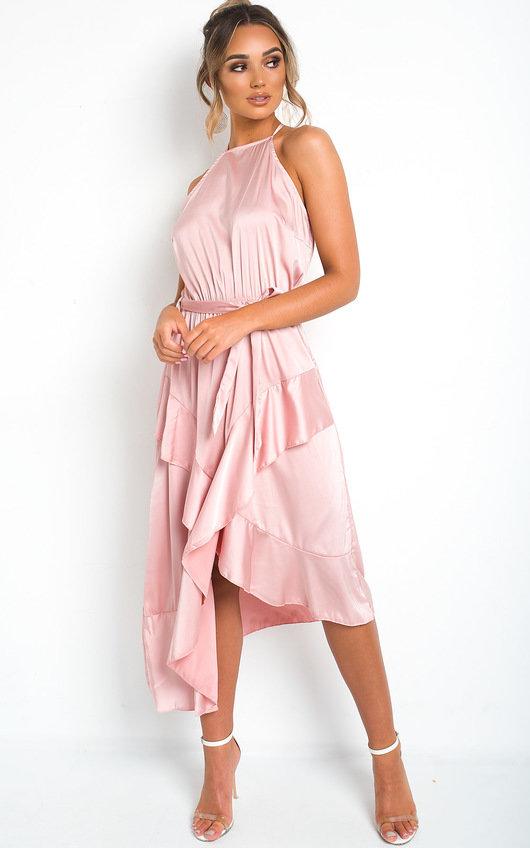 45216f45723d Willow Wrap Frill Midi Dress in Rose | ikrush