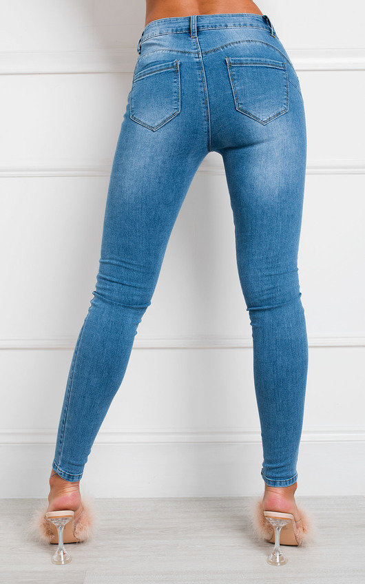 Ikrush femme Emily Skinny Mid Rise Ripped Jeans