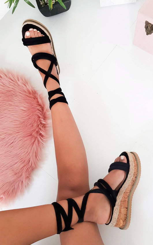 cf790a1d64c Zara Faux Suede Lace Up Flatform Sandal in Black