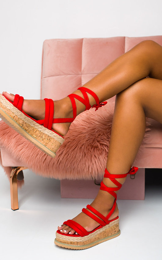 76541b6265 Zara Faux Suede Lace Up Flatform Sandal in Red | ikrush