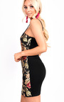 Desi Floral Print Straight Neck Stretch Bodycon Dress Thumbnail