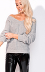 Kim Knitted Knot Cropped Jumper Thumbnail