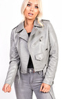 Leyla Biker Faux Leather Jacket Thumbnail