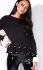 Nelly Pleated Sleeve Beaded Jumper Thumbnail