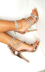 Keira Diamante Multiple Strap Barely There Heels Thumbnail