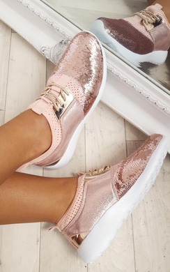 View the Saskia Sequin Metallic Lace Up Trainers online at iKrush