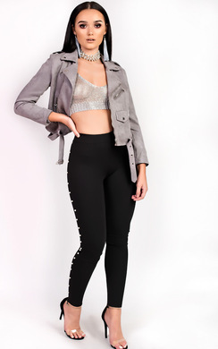 View the Loralee Mid Rise Pearl Side Leggings online at iKrush