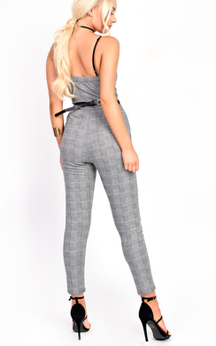 View the Kourtz Belt Waist Slim Leg Checked Jumpsuit online at iKrush