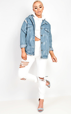 View the Kylizzle Distressed Denim Jacket  online at iKrush