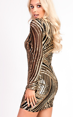 View the Aleah Long Sleeved Sequin Bodycon Dress online at iKrush