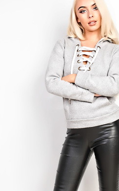 View the Ashlena Lace Up Hoodie  online at iKrush