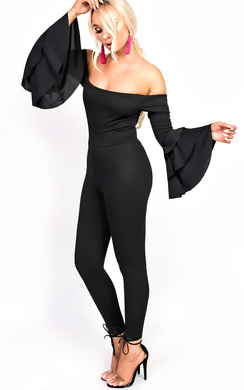 View the Ariel Slim Leg Flared Bardot Jumpsuit online at iKrush