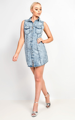 View the Hilde Polkadot Denim Shirt Dress online at iKrush