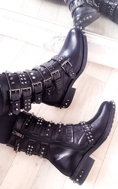 View the Carmen Buckle Studded Boots online at iKrush
