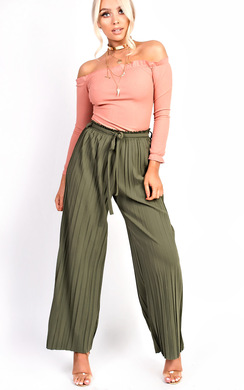 View the Cora Tie High Waist Wide Leg Trousers online at iKrush