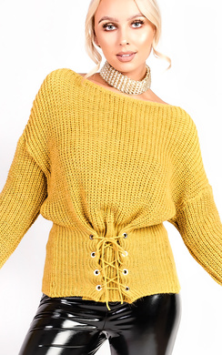View the Alesha Knitted Tie Jumper online at iKrush
