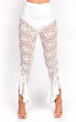 View the Terri High Waisted Lace Frill Trouser online at iKrush
