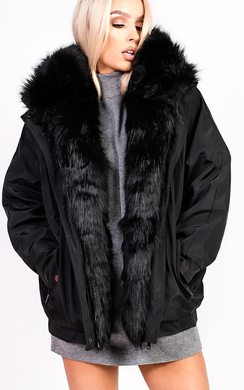 View the Vivienne Oversized Faux Fur Hooded Jacket online at iKrush