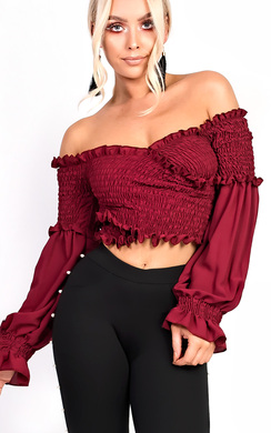 View the Karmen Bardot Stretch Long Sleeved Frill Crop Top online at iKrush