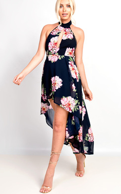 View the Adora High Neck Floaty Floral Maxi Dress online at iKrush
