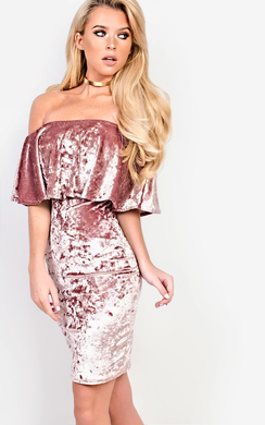 View the Sienna Off Shoulder Velour Dress online at iKrush