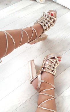 View the Carmen Studded Caged Block Heels online at iKrush