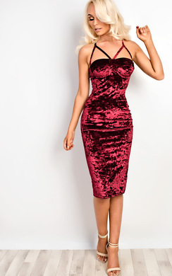 View the Amrezy Crushed Velvet Strappy Bodycon Dress online at iKrush