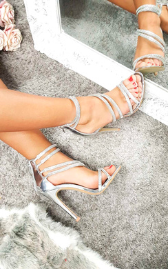 View the Keira Diamante Multiple Strap Barely There Heels online at iKrush