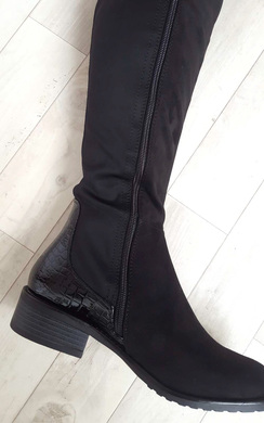 View the Aby Faux Suede Patent Knee High Boots online at iKrush