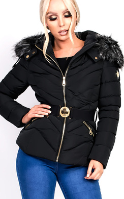 View the Sylvia Padded Faux Fur Hooded Belted Jacket online at iKrush