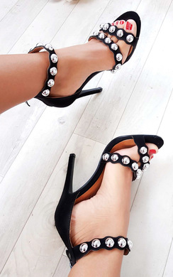 View the Reliana Studded Faux Suede Heels online at iKrush
