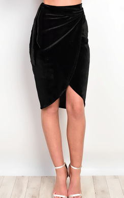 View the Ruby Velour Asymmetric Skirt  online at iKrush