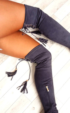 View the Amelia Faux Suede Tie Knee High Boots  online at iKrush