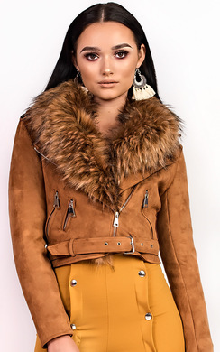 View the Brogan Faux Fur Suede Biker Jacket online at iKrush