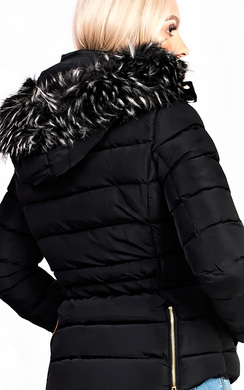 View the Selina Padded Faux Fur Popper Hooded Jacket online at iKrush