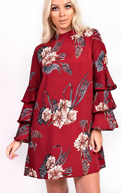View the Autumn High Neck Floral Frill Dress online at iKrush