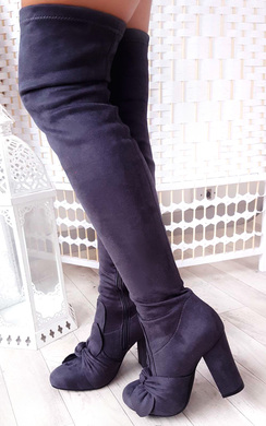 View the Corla Faux Suede Bow Front Knee High Boots online at iKrush