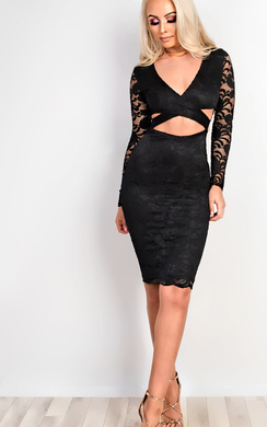 View the Faith Lace Cut Out Bodycon Dress online at iKrush
